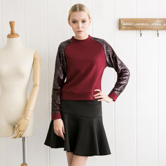 Spring and autumn in Europe and America put gorgeous sequin stitching elegant Burgundy simple leisure sweater long sleeve shirt 9189