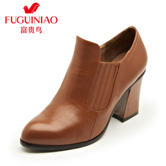 Fuguiniao shoes nude leather boots winter shoes of England tipped rough heels leather shoes women