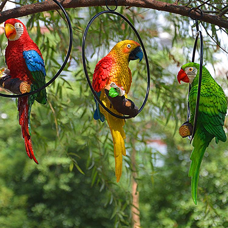铁圈鹦鹉挂件园林庭院园艺设计婚庆装饰品树脂工艺品树木挂饰礼物