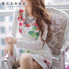 Slim dress pink doll summer 2015 new white bubble long sleeve print dress