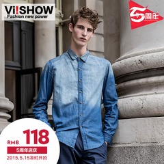 Viishow2015 spring denim shirt youth national wind slim tide long sleeve denim shirt