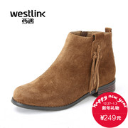2015 West New Scrubs tassel casual winter boots zipper shoes with low heels short boots with round head Chao