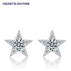 「HOF」Hearts On Fire 新品白色18K金25分钻石耳钉UU 151