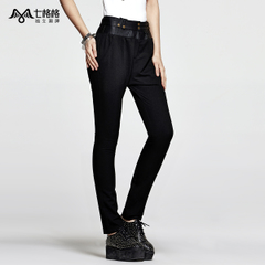 Seven space space OTHERMIX PU leather waistband stitching black Slim pants feet pants women