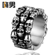 Non-mainstream! Personalities index finger single domineering vintage skull ring titanium steel men rings steampunk jewelry