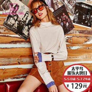 2016冬装新款加厚卫衣女套头衬衫袖口上衣高领纯色T恤打底衫女
