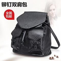 2015 new Backpack Jurchen Academy fashion backpack large rivets the first layer of leather bags women bags