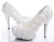 Bridal wedding shoes, white high heels, lace wedding shoes, high heels, wedding shoes, wedding shoes
