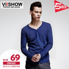 Viishow autumn 2015 new slim solid color long sleeve t-shirt men long sleeve bottoming shirt white t-shirt men
