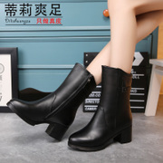 Tilly cool foot MOM and 2015 the thick high heel boots for fall/winter fleece side Zip Boots boots boots in suede leather