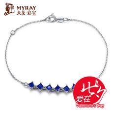 米莱珠宝 1.35克拉斯里兰卡皇家蓝蓝宝石手链 18K白手链 彩色宝石