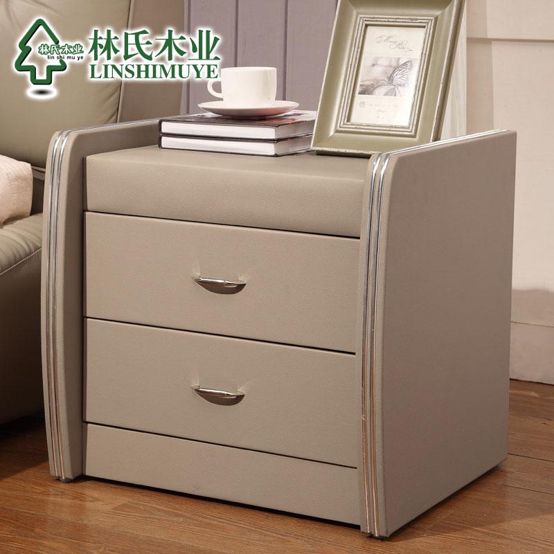 林氏木业现代卧室皮艺床头柜简约白色抽屉角柜皮质床边柜家具A32产品展示图2