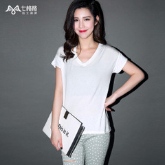 Seven space space OTHERMIX2015 long after the short summer before the new solid-color v-neck short sleeves t shirt women