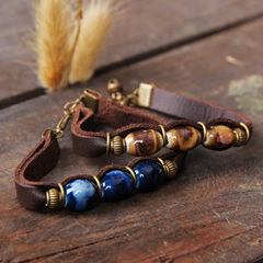 Young singers '' new handmade original kiln porcelain beads ceramic beads bracelet hand made leather rope bracelets color optional