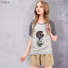 Artka阿卡夏装新款亲肤舒适宽松透气拼接套头圆领短款T恤TA10261X
