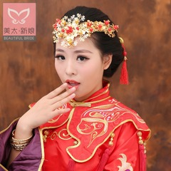 Bridal tiara gold-leaf flower of Chinese Red and gold wedding hair accessories for accessories assembly accessories Lynn Judy A0946