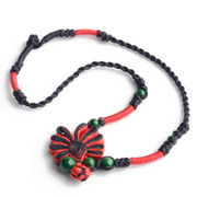 Ancient tree thousand vine jewelry handmade ethnic necklace chain short Red Chinese knot buttons bride 03079