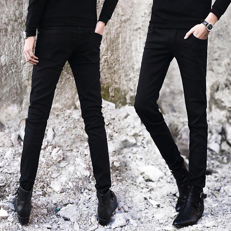 秋冬季弹力牛仔裤男士韩版修身青少年小脚裤潮男装黑色男裤子长裤