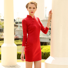 Europe Spring new vintage modified dress red knit dresses, slim elegant buckle collar 9385