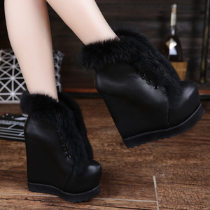 2019 autumn and winter new 15cm ultra-high heel women's shoes leather rabbit fur snow boots waterproof platform increased slope heel boots