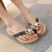 2015 summer boho Sandals flat-bottom low with flip-flops cake version song Han thick soles for ladies fashion Sandals tide