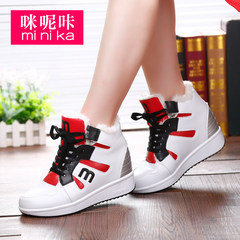 Microphone clicking 2015 new autumn and winter plus velvet in the Korean version of high shoes strap platform shoes casual shoes sneakers