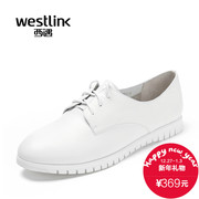 Westlink/West spring 2016 New England wind leather flat bottom casual white shoes shoes women