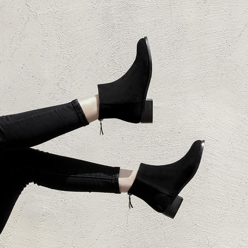 大叔家2017秋冬季新款韩版圆头低跟切尔西短靴后拉链及踝靴裸靴女