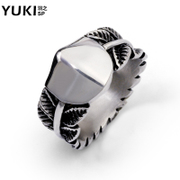 YUKI men''s aggressive index finger ring titanium steel ring rings vintage European original cool single hipster shield ring