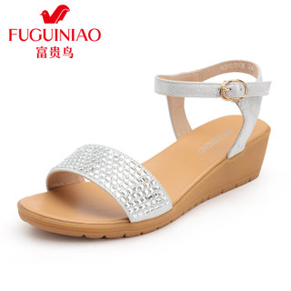 Fuguiniao Sandals Women's shoes new 2015 female summer shoes, leather sandals with Rhinestone Sandals student