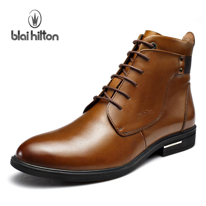 布莱希尔顿水染牛皮中筒男靴纯羊毛保暖尖头真皮男士精品马丁靴