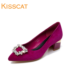 Kissing the cat fall 2015 new shallow with rough Sheepskin suede shoes kisscat pointed shoes