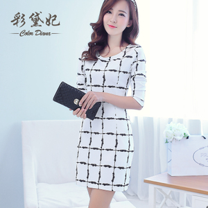 Diana color in autumn and winter 2015 Korean version of the new Slim was thin fresh plaid long-sleeved package hip skirt dress tide