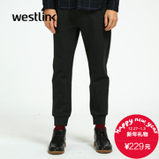 Westlink/West 2015 winter new minimalist black collection pants suit fabric men's casual pants