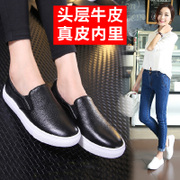 Tilly cool foot spring 2015 new Lok Fu minimalist black and White Leather flat shoes leisure shoes tide women shoes