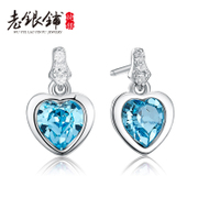 Old Pu S925 silver fungus nails women crystal earrings silver Korea silver Korean heart-shaped ear jewelry hypoallergenic