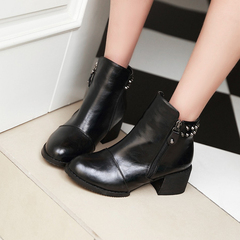 2015 winter new coarse boots side zipper short boots fashion tip fashion rivet ankle boot women's boots