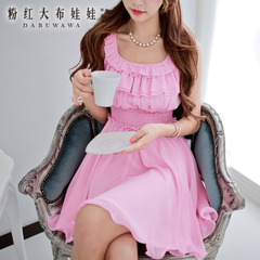Sleeveless dress big pink doll summer 2015 new wave multilayer falbala slim dress