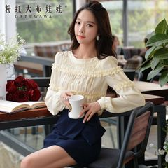 Shirts girls big pink doll 2015 autumn new mosaic lace chiffon long sleeve shirt jacket