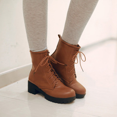 2015 new Europe and the wind in autumn and winter boots with chunky heels and bare boots waterproof boot style with round head Martin boots