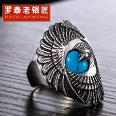 Chandos wide 925 Silver fashion old silversmith retro turquoise Eagle domineering Thai silver finger ring rings