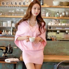 Sweater dress pink doll 2015 autumn new sexy v neck bat sleeve sweater women