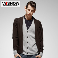Viishow2015 new men's sweaters men's sweaters and winter in Europe and America Cardigan slim fit knit jacket