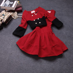 Autumn/winter 2014 new European quality two piece fashion suit dress #