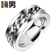 Free engraving! Korean fashion single ring titanium steel rings men''s domineering personality index finger wave men exclusive