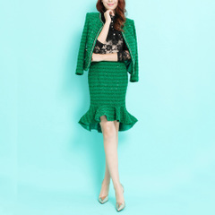 Love love ~ Crystal diamond sequin small stretch Tweed Chanel style fishtail skirt green OL kits