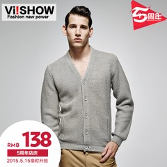 Viishow mens new 2015 spring thin Cardigan Sweater casual sweatshirts men's sweater