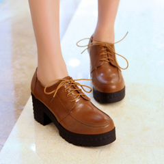 2015 spring new Europe and the thick waterproof comfort round toe high heel fashion shoes retro shoes