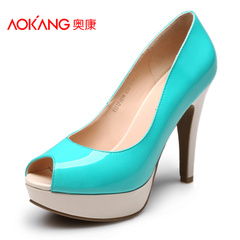 Aucom spring Korean fashion super fish mouth shoes women's shoes high heel platform patent leather women's shoes new