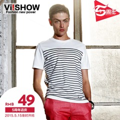 Viishow men's short sleeve men's new tide t shirt slim fit striped t shirt slim fit cotton short t